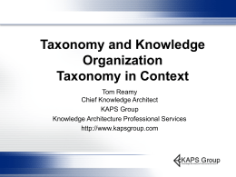 Taxonomy and Knowledge Organization