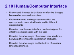 2.1 Human/Computer Interface