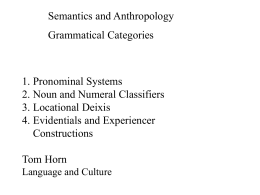 Semantics and Anthropology Grammatical Categories 1