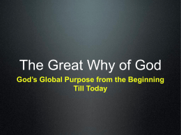 The Great Why of God - Stand Firm For Truth