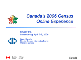 MSIS 2008 - Canadian Census Online Option