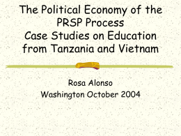 The Political Economy of the PRSP Process Case Studies on