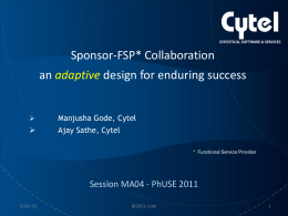 Sponsor-FSP Collaboration: an adaptive design for …