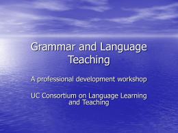 Grammar and Language Teaching