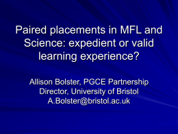 Paired placements in MFL and Science: expedient or valid
