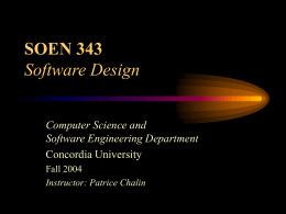 SOEN 343, Software Design