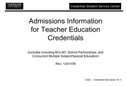 Admissions Information for Teacher Education Credentials