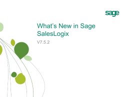 What's New in Sage SalesLogix - Empath-e