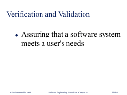 Verification and Validation - George Washington University