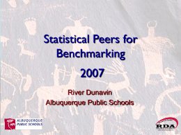 Statistical Peers for Benchmarking and 2004