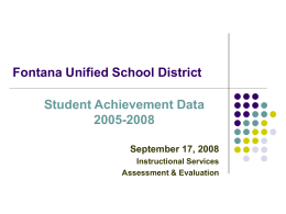 Data Presentation - Fontana Unified School District