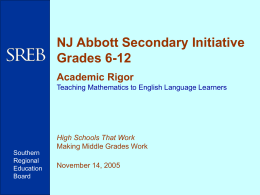 NJ Abbott Secondary Initiative, Grades 6