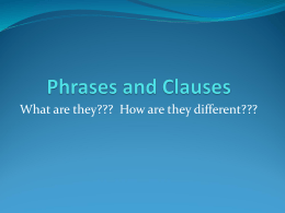 Phrases and Clauses - Shelby County Schools