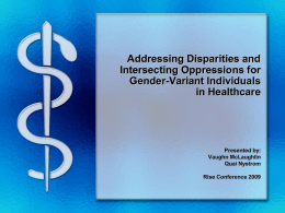 Addressing Disparities and Intersecting Oppressions for
