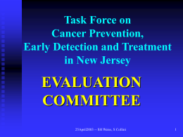 Task Force on Cancer Prevention, Early Detection and