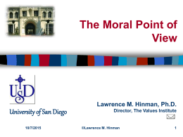 The Moral Point of View - University of San Diego