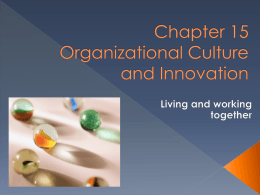 Chapter 15 Organizational Culture and Innovation