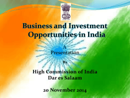Doing Business with India - High Commission of India