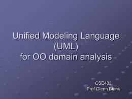 Unified Modeling Language (UML) for OO domain analysis