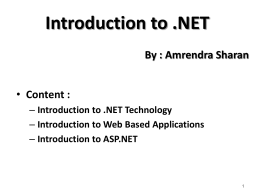 Intro to .NET Technology