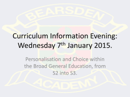 Your Curriculum - Bearsden Academy