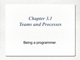 Chapter 3.1 Teams and Processes