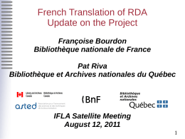 French Translation of RDA Update on the Project