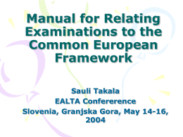 Manual for Relating Examinations to the Common …