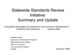 Statewide Standards Review Initiative Update
