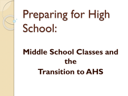 Preparing for High School