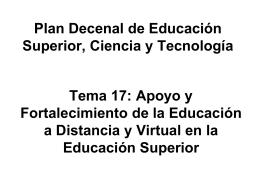 Plan Decenal de Educación Superior, Ciencia y Tecnología Tema 17