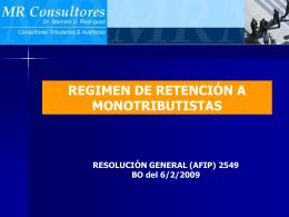Regimen de Retencion - Monotributistas