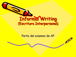 Informal Writing (Escritura Interpersonal)