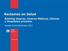 Ranking Reclamos en Salud