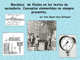 Mecánica de fluidos en los textos de secundaria. Conceptos
