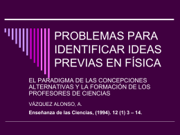 PROBLEMAS PARA IDENTIFICAR IDEAS PREVIAS EN FÍSICA
