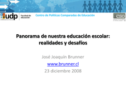 Panorama de la educación escolar: el aporte desde y hacia el