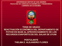 Reactivación Económica del Departamento de Potosí en Base al
