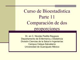 Curso de BioestadísticaParte 11Comparación de dos proporciones