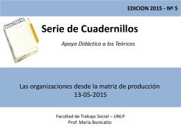 Teórico Nro. 5 Las organizaciones desde la matriz de producción