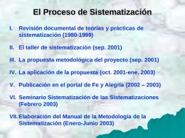 El Proceso de Sistematización