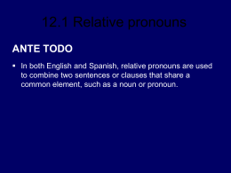 12.1 Relative pronouns