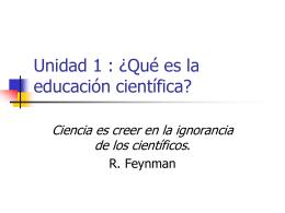 Unidad 0: ¿Qué es la educación científica?