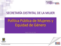 POLà TICA PÚBLICA DE MUJERES Y EQUIDAD DE GÉNERO