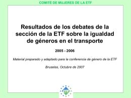 COMITÉ DE MUJERES DE LA ETF INICIATIVAS DE LAS SECCIONES