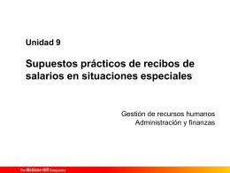 Unidad 9 Supuestos prácticos de recibos de salarios en situaciones