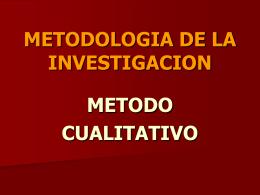 metodologia de la investigacion metodo cualitativo