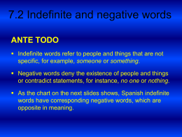 7.2 Indefinite and negative words