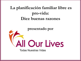 La planificación familiar libre es pro-vida