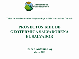 Proyecto MDL de Geotérmica Salvadoreña